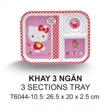 T6044-10.5 Khay 3 Ngăn 26,5 Cm (Kitty pinky)  - SPW